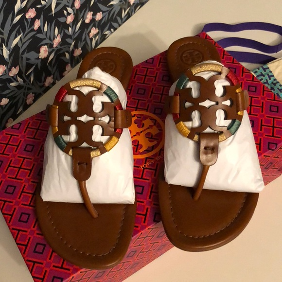3f18edc31eb7cb Tory Burch Miller Embroidered leather sandal